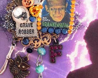 Boris Karloff as FRANKENSTEIN Brooch - Scary Monster MOVIE Collage PIN