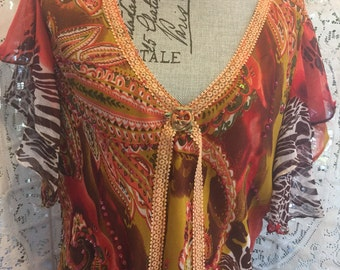 Butterfly Sleeve - TUNiC  Top -  Fall Colors - Embellished  with Lace  - Size  XL - 2XL - SALE