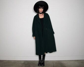 Dark GREEN Maxi WOOL 90s Cocoon Coat Long Length Vintage Size M/L