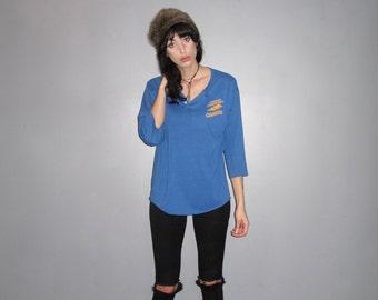 Royal Blue Henley T-shirt - 80s Hipster Loose Fit Retro VTG - Size M