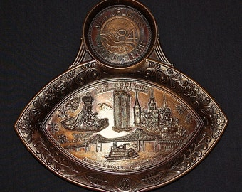 Vintage 1984 World's Fair metal tray New Orleans
