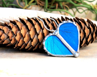 Real Butterfly Wing Heart Shaped Pendant - Blue Morpho