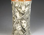 Magical story vase with cat faces owl Imagine and much more