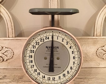 Rustic Kitchen Scale by Hanson - 1950s Atomic Pink and Gray Kitchen Scale