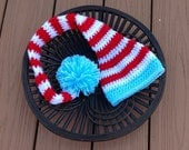 Dr. Seuss Stocking Hat/long tail hat/elf hat/stocking hat/stocking cap (fits infants to adults)