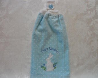 Hanging Double Kitchen Towel  Easter Towel Crochet Top Easter Blessings Bunny Hanging Kitchen Towel Bunny and Flowers Towel