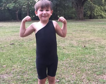 Strongman Tarzan Costume for Toddlers in High Chest Cut and Black Fabric