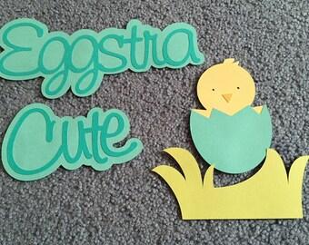 "Scrapbooking title ""Eggstra cute"" (boy)"
