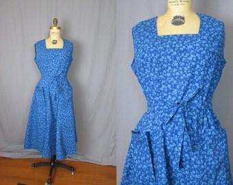 Blue Wrap Dress / Handmade / medium