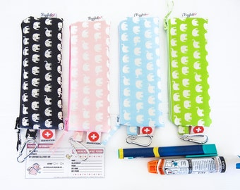 Single EpiPen Case / Insulin Pen Pouch with Medical ID Card - Elephant Oilcloth (Vinyl-Coated) -  Choose Your Color!