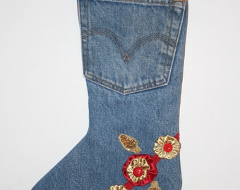 Christmas Stocking made from Recycled Levi Jeans Gold Satin Cuff, Gold lining, yoyo's, glitter appliques, red trim, and a gold jingle bell