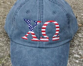 Chi Omega American Flag Cap