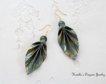 Origami Jewelry - Japanese Origami BIG Leaf Earrings with Plated 14KG No.03160