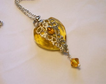 Vintage Inspired Silver Filigree And Topaz Rhinestone Heart Perfume Bottle Necklace