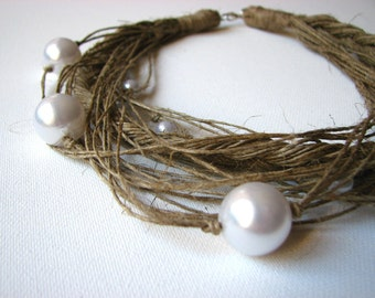 Pearls -  linen  Necklace