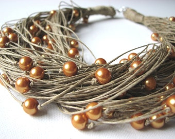 HONEY  pearls - Big linen necklace