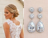 Crystal Bridal Earrings, Wedding earrings, Long Bridal earrings, Bridesmaids, Swarovski, Wedding Jewelry,  Long Crystal Stud Earrings