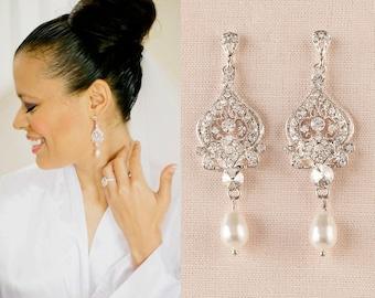 Bridal earrings, Wedding jewelry, Crystal Wedding earrings, Swarovski Bridal jewelry, Chandelier Bridal Earrings Alexandra Earrings