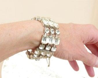 Rhinestone Bracelet * Wide Bracelet * Cocktail Bracelet * Costume Jewelry * Vintage Rhinestone Bracelet * 60s Bracelet * Bridal Jewelry