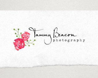Premade Logo // Logo Design // Business Logo //  Photography Logo // Watercolor Logo // Romantic Rose Bouquet Logo