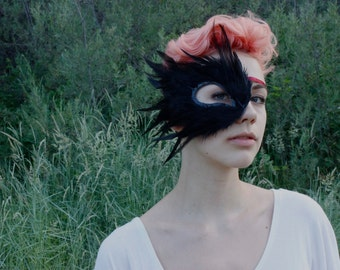 BLACK BIRD. Black Feather Mask. Half Mask for one eye. Raven, Crow, & Black Swan costumes. Unisex. Halloween Mask. Masquerade. Made to Order