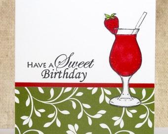 Birthday Card, Sweet Birthday, Strawberry Drink, Handmade Cards
