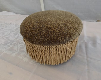 """Round Foot stool with fringe. Collectibles. Home decor.Shabby chic . 12.5"""" the diameter,8""""H . Furniture Gift"""