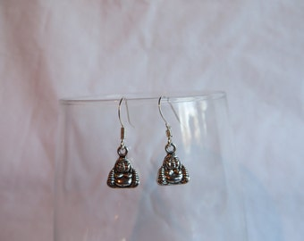 Silver Buddha Earrings