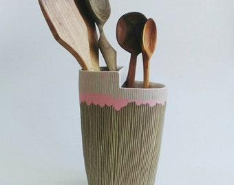 Pink porcelain and yellow inlaid stoneware divided vase or utensil holder with sage striped rim