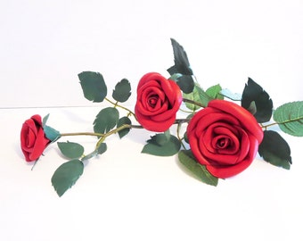 Red Leather roses - one Long Stem and 3 red roses- leather flower- Wedding- 3rd Anniversary Gift -Sexy Flower Valentines Day