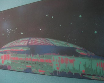 Houston Astrodome Pastel Spray Paint Stencil Artwork - All Hand cut by Beau Pope