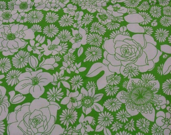 """Vintage Fabric, Beautiful Decorator Cotton, Lime Green and White Floral, 3 Yards, 40"""" Wide"""