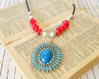 Americana Red White & Blue Pendant Necklace, Patriotic, Upcycled Vintage, Retro Style, Squash Blossom style, Turquoise Coral Pearls,