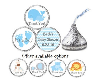 PRINTED 108 Baby Shower Blue Mom & Baby Whale Stickers for Candy Kiss® Chevron labels Giraffe Elephant Hippo Lion Available