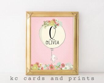 Olivia Nursery Art - Custom Name - Nursery Monogram - Nursery Printable - Name Art