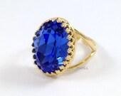 Blue Sapphire Ring - Dark Blue Large Oval Swarovski Crystal Gold Tudor Statement Cocktail Ring