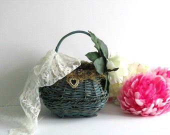 Wedding, Flower girl basket, moss, flowers, rustic, blue or teal timelesspeony