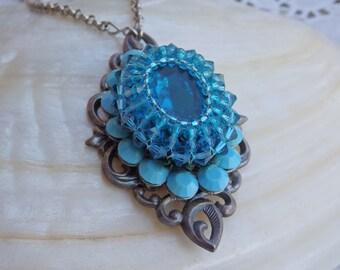 Swarovski blue pendant. Beaded jewelry. Swarovski necklace. Turquoise swarovski necklace. Turquoise silver jewelry. Blue bride jewelry.