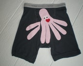 Charcoal Grey, Valentino Octopants, the seven legged octopus boxer shorts. Mens underwear. Size small, Valentines Day