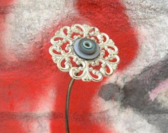 White 3d flower, Metal flower, Junk Flower, Table Art, Flower Art, Vase Filler, Fake Flower, Upcycled flower, Coworker gift , Classy Flower