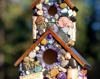 Outdoor Mosaic NorthWest Birdhouse with Amethyst Stones,Ocean Agates and Wine corks earth friendly natural bird lover red wine corks