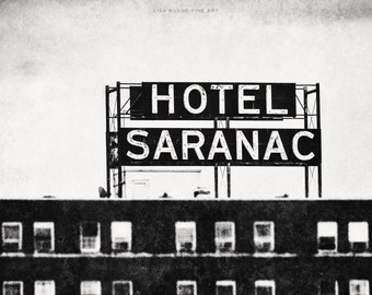 Saranac Lake New York Print or Canvas Art, Vintage Black and White Art, Hotel Saranac Picture, Upstate New York, Can-Am Rugby, Adirondack.