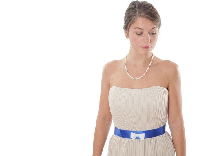 Bright Blue Belt w/ White Bow Cobalt Royal Blue Satin Something Blue Sequin Bow Made in Ohio Modern 1000271