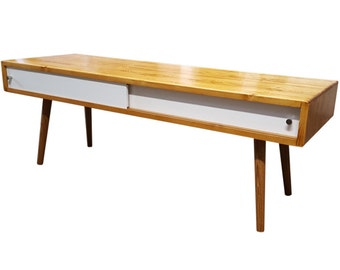 Mid Century Inspired Coffee Table with Doors - MADE TO ORDER