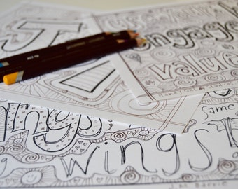 Living Joyfully Set of 3 Coloring pages, light-hearted inspiration for MAKING and LIVING; use your hands, engage your heart, value your joy