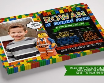 Chalkboard Lego Inspired Digital Birthday Invitation