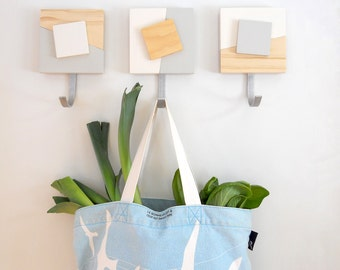 COAT HOOKS: Wall Mount Modern Contemporary Geometric Design. Entry Organization Coat Rack Artful Decor. Great for Coats or Bags!