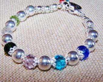 Mother's Bracelet, Birthstone Bracelet, handstamped,  Grandma bracelet
