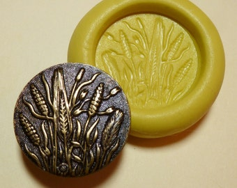 Antique button mold- Wheat, Plant, flexible silicone push mold, PMC, Art Clay Silver, fimo, Sculpey, jewelry mold Q21