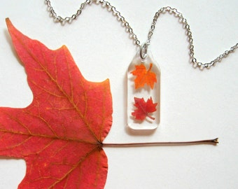 Two Autumn Maple Leaves - Real Autumn Leaves Woodland Necklace - botanic jewelry, pressed leaves, Autumn necklace, leaf necklace, eco, ooak